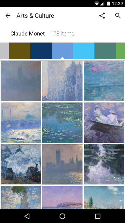 Android page with Monet art sorted by colors